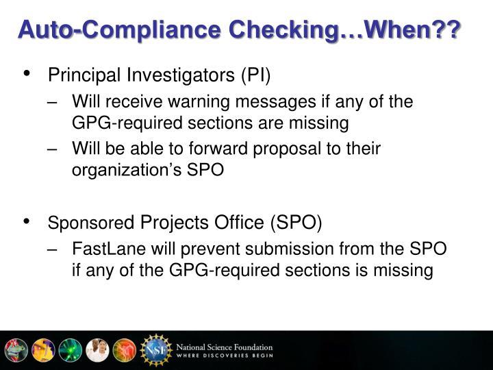 Auto-Compliance Checking…When??