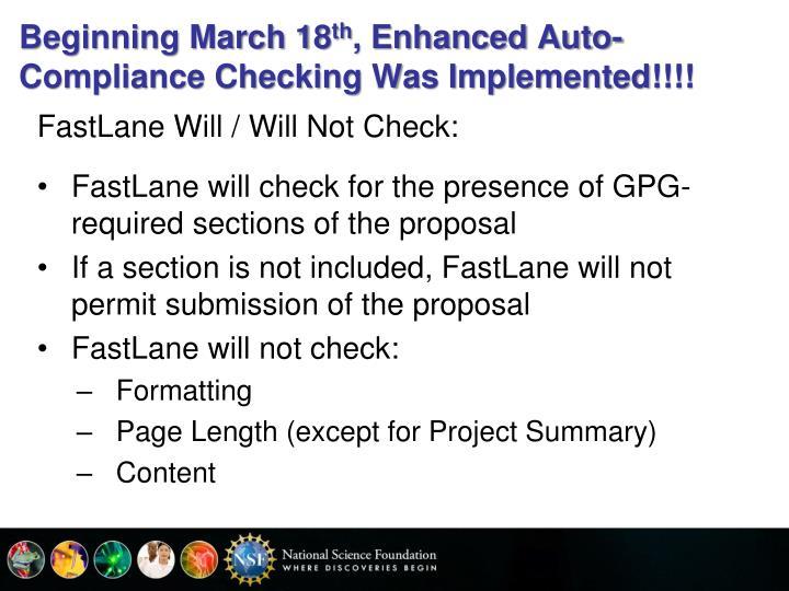 Beginning March 18