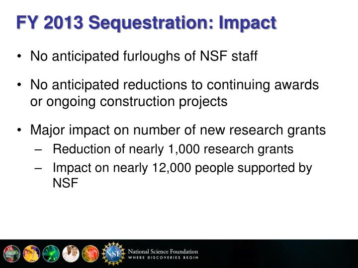 FY 2013 Sequestration: Impact
