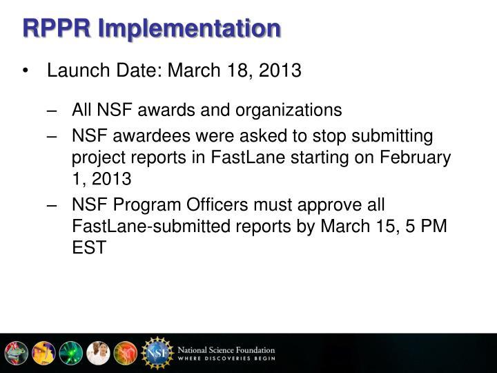 RPPR Implementation