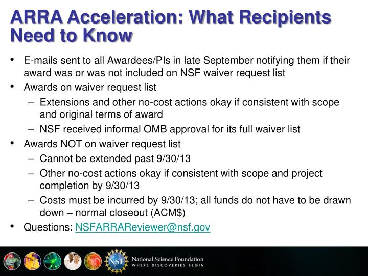 ARRA Acceleration: What Recipients Need to Know
