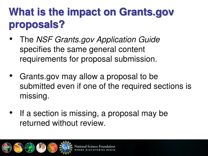 What is the impact on Grants.gov proposals?