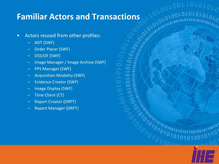 Familiar Actors and Transactions