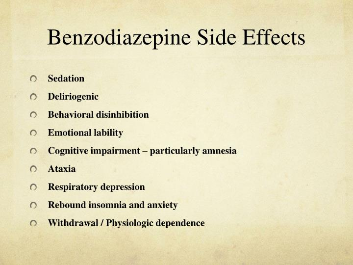 Benzodiazepine Side Effects