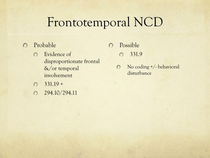 Frontotemporal NCD