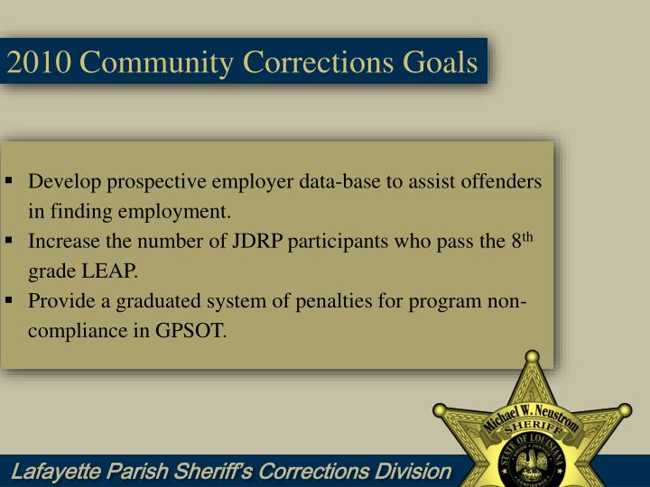 goals community corrections Welcome to the klamath county community corrections web page   community corrections provides a cost-effective means to hold offenders  plan ( pdf) mission, values & goals oregon department of corrections programs &  services.