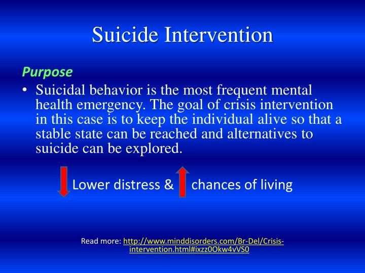 prevention and crisis intervention Suicide prevention & intervention resources suicide prevention and interventions/student crisis management procedure the district recognizes its part in the community.