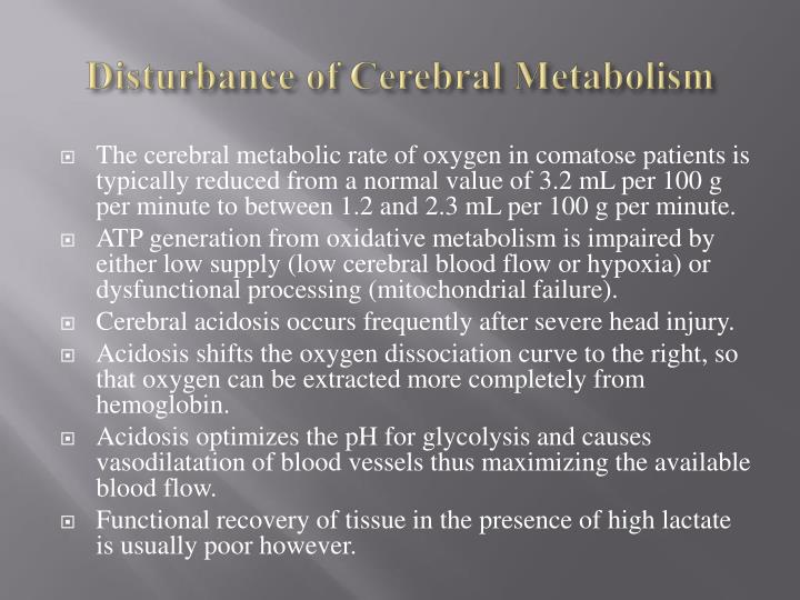 Disturbance of Cerebral Metabolism