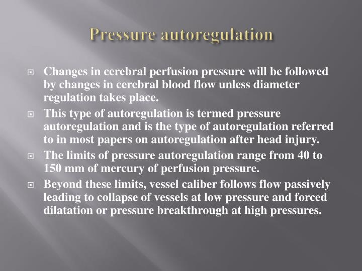 Pressure autoregulation