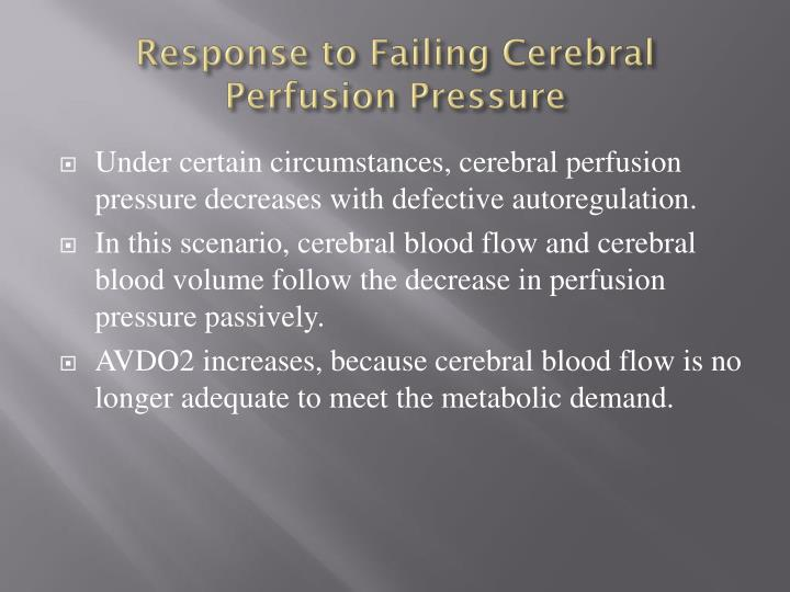 Response to Failing Cerebral Perfusion Pressure