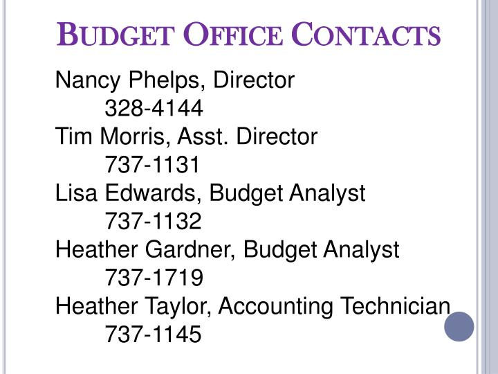 Budget Office Contacts