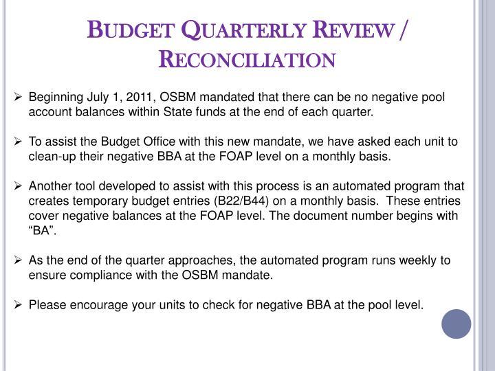 Budget Quarterly Review / Reconciliation