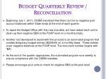 budget quarterly review reconciliation