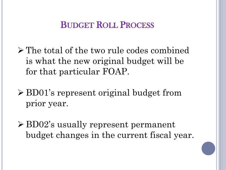 Budget Roll Process