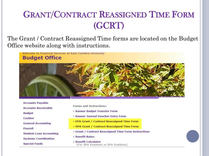 Grant/Contract Reassigned Time Form (GCRT)