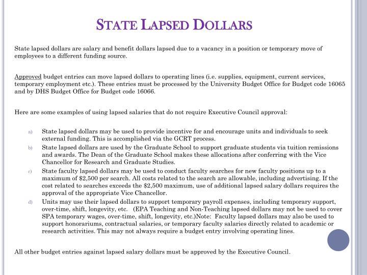State Lapsed Dollars
