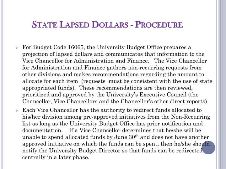 State Lapsed Dollars - Procedure