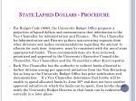 state lapsed dollars procedure
