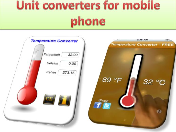 Unit converters for mobile phone