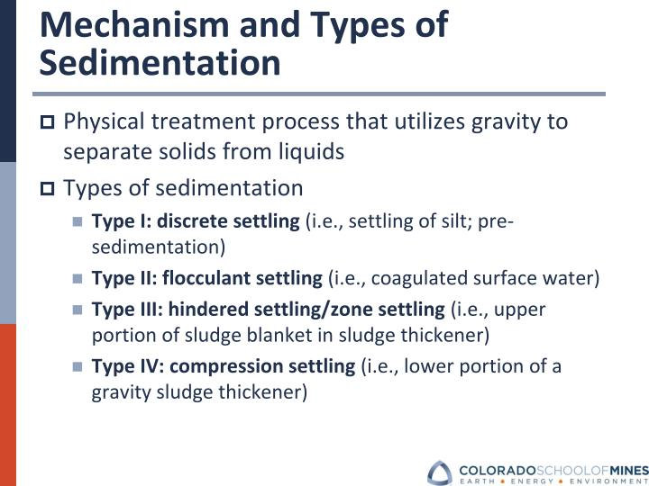 Mechanism and Types of Sedimentation