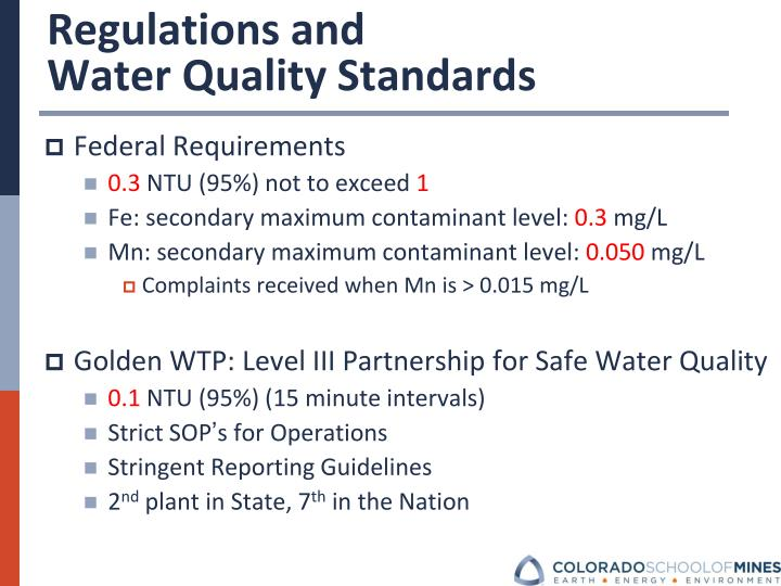 Regulations and                          Water Quality Standards