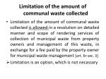 limitation of the amount of communal waste collected