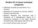tenders for in house municipal companies