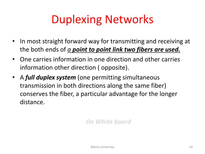 Duplexing Networks