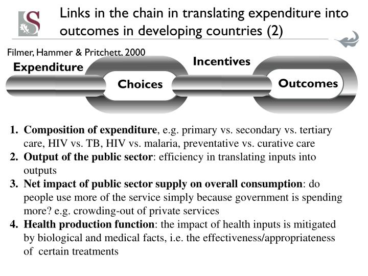 Links in the chain in translating expenditure into outcomes in developing countries (2)