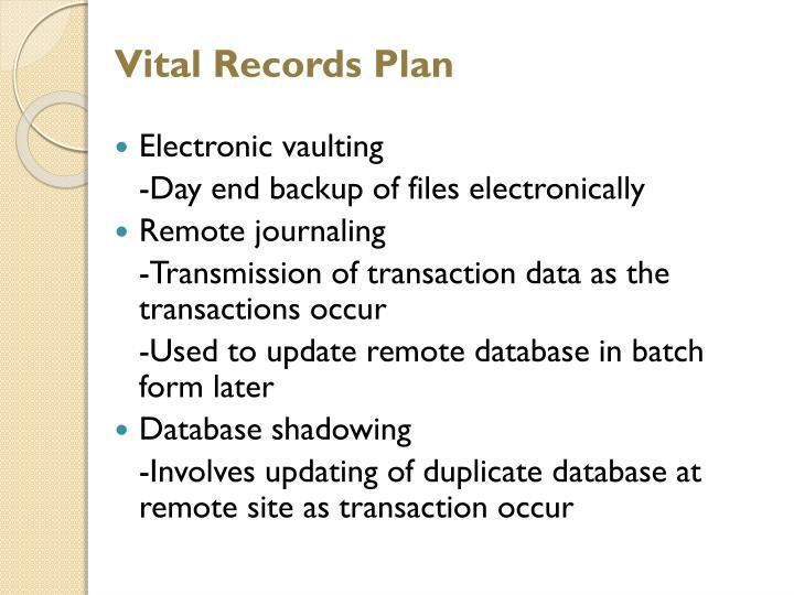 Vital Records Plan