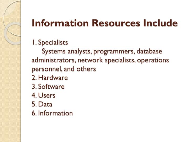 Information Resources Include