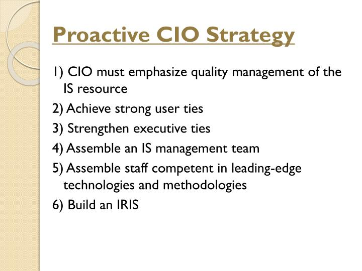 Proactive CIO Strategy