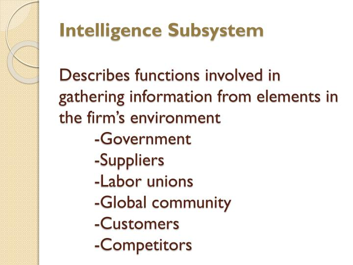 Intelligence Subsystem