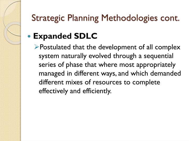 Strategic Planning Methodologies cont.