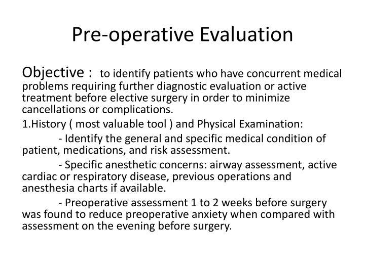 Pre-operative Evaluation