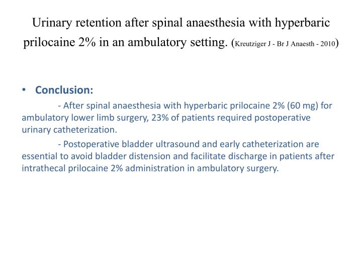 Urinary retention after spinal