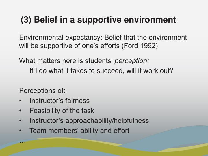 (3) Belief in a supportive environment