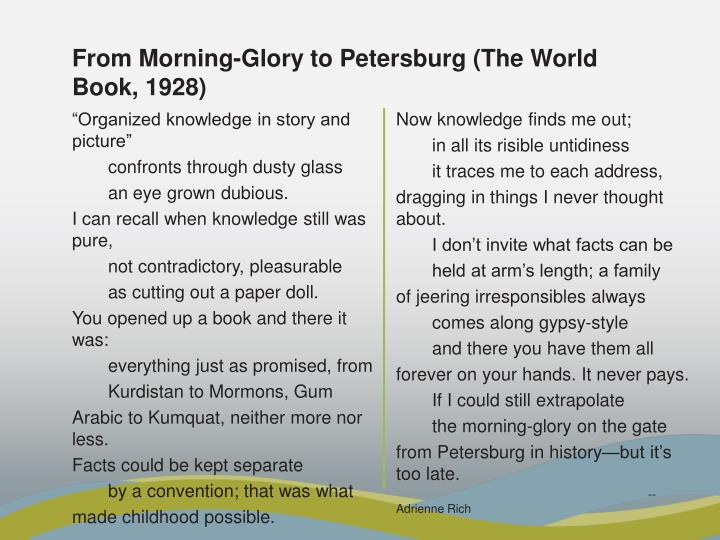From Morning-Glory to Petersburg (The World Book, 1928)