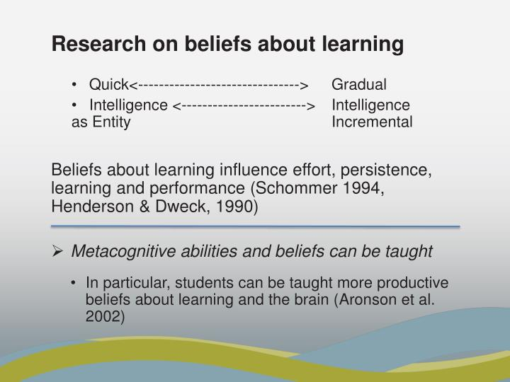 Research on beliefs about learning