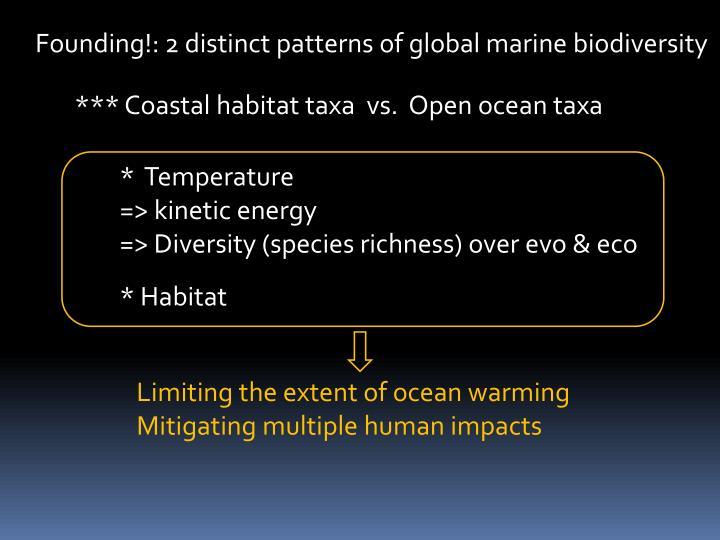 Founding!: 2 distinct patterns of global marine biodiversity
