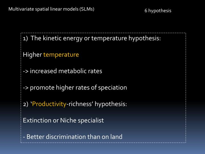 Multivariate spatial linear models (SLMs)