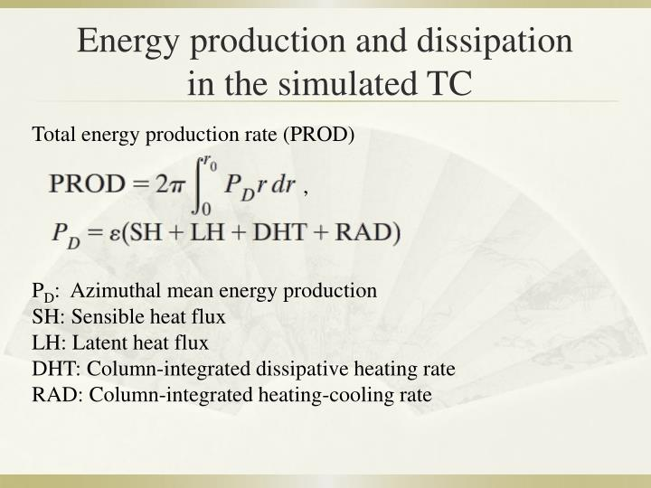 Energy production and dissipation