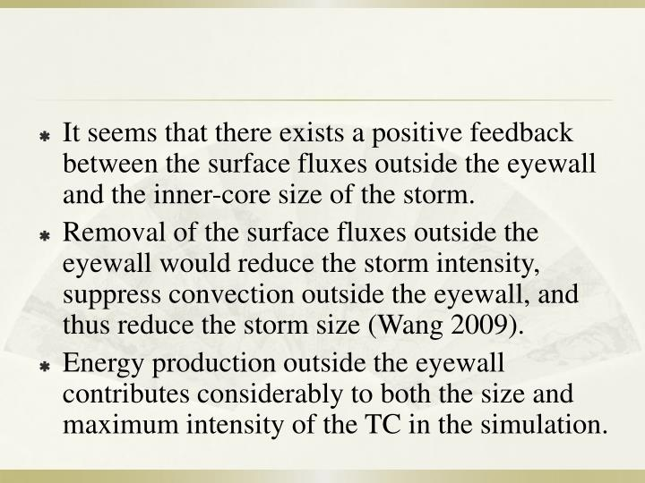 It seems that there exists a positive feedback between the surface fluxes outside the