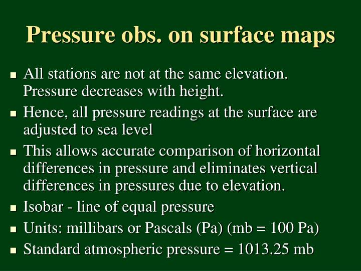 Pressure obs. on surface maps