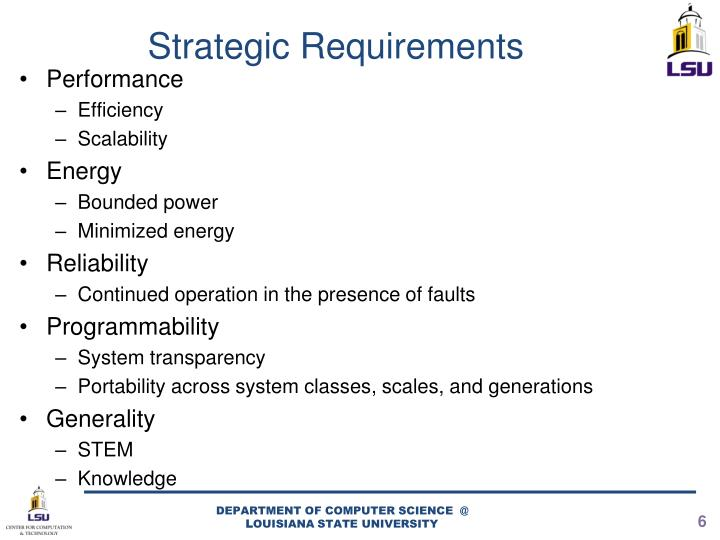 Strategic Requirements