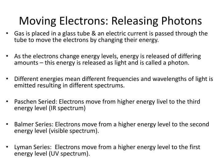 Moving Electrons: Releasing Photons