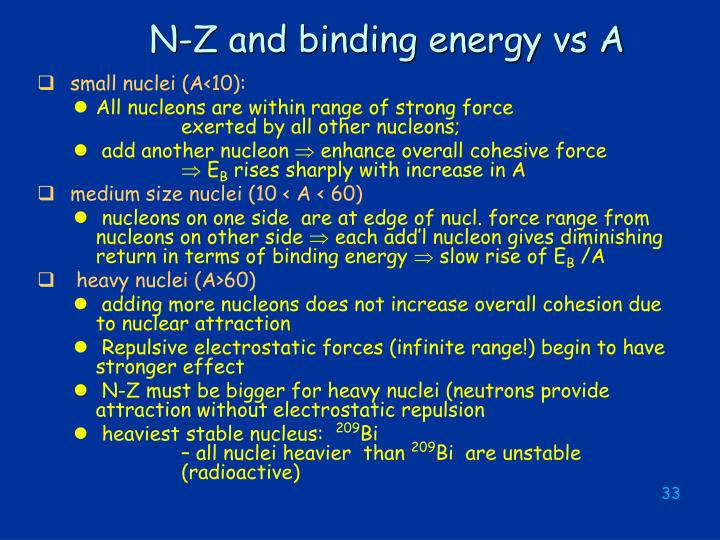 N-Z and binding energy vs A