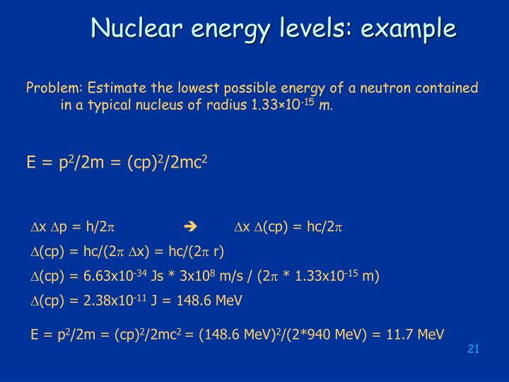 Nuclear energy levels: example