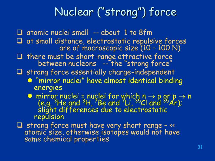 """Nuclear (""""strong"""") force"""
