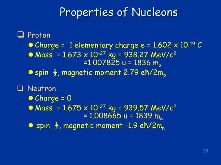 Properties of Nucleons
